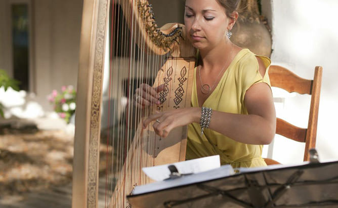 playing the harp at a beautiful wedding!